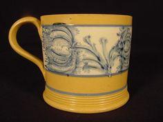 RARE 1800s Blue Mocha Flower Mug Mochaware Yellow Ware | eBay