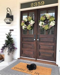 Best Farmhouse Front Door Country Style Entrance 49 IdeasBest Farmhouse Front Door Country Style Entrance 49 Ideas ideas country front door decor farmhouse style for ideas country front door decor farmhouse style for Country Front Porches, Country Front Door, Double Front Entry Doors, Double Door Wreaths, Farmhouse Front Doors, Double Doors Exterior, Vintage Farmhouse, Farmhouse Interior, Farmhouse Homes