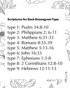 Scriptures for Each Enneagram Type ✨🙌🏼 ⠀⠀ If I am not giving you Truth, Love, and Real Life through the enneagram, through this page,… Enneagram Type One, Enneagram Test, Mbti, Personality Psychology, Personality Types, Bible Verses, Scriptures, Scripture Study, Thing 1