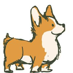 Brynwood Needleworks: Tuesdays With Tag - A Corgi Art Show. Check of their web-site Cartoon Drawings, Cute Drawings, Animal Drawings, Drawing Cartoon Animals, Dog Drawings, Cute Corgi, Corgi Dog, Corgi Cartoon, Corgi Drawing
