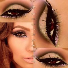 Dramatic Eye Makeup - Perfect Winged Eyeliner - Pink Purple Glitter Lower Lash Line