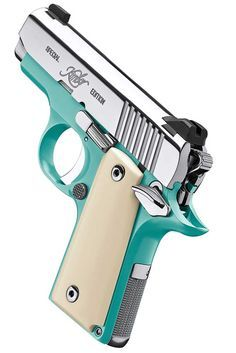 Kimber | Micro Bel Air. This gun is gorgeous. I love the fact that it's turquoise and not pink. http://www.facebook.com/yetichaos