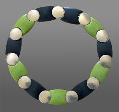 Necklace | Henkel & Grosse. Galalith and chrome art deco plastic necklace