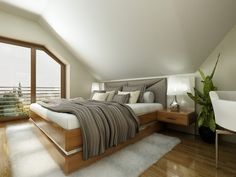 The second bedroom utilizes the same bold textures as the first with a lightened…