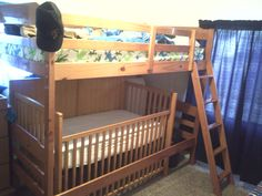 Making Space in a tiny shared room. Took the planks out of the bunkbed and stuck the crib in would work better with a loft bed where you could have the crib half in half out without compromising the strength