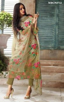 Olive Green Printed Suit Set Beautiful flower print all over the suit with dainty lace and swarovski on the neckline adds a touch of elegance to this Olive green suit set. It is paired with matching bottom and digital print dupatta. Salwar Designs, Kurta Designs Women, Kurti Designs Party Wear, Pakistani Dress Design, Pakistani Outfits, Indian Outfits, Kurti Designs Pakistani, Kurti Pakistani, Indian Attire