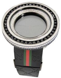 Gucci Digital Black And White 18.5 Ct Diamond  52Mm Bezel Mens Watch