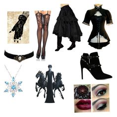 """""""Pitch black outfit ROTG"""" by rosethorndyke2000 ❤ liked on Polyvore featuring Amanda Rose Collection, Valentino and Leg Avenue"""