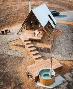 Tiny House Cabin, Tiny House Plans, Tiny House Design, Cabin Homes, Tiny Log Cabins, Cottage House, A Frame Cabin, A Frame House, Cabins In The Woods
