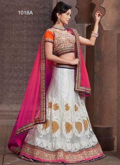 Blooming White Net With Heavy Work Designer Lehenga Choli