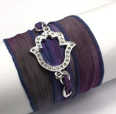 Monet Hand Dyed Silk Wrap Yoga Bracelet with Silver Plated Rhinestone Hamsa