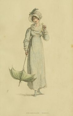 1815 fashion plates - Ackerman's Repository, Series1 Vol 14. August Issue. Day ensemble with lovely details of accessories.
