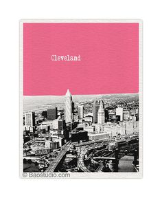 Cleveland Ohio Art Print - World Traveler Series City Skyline poster  - Available in 56 Colors - UOH036