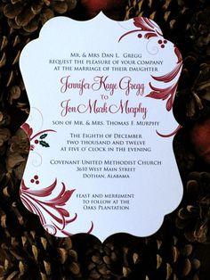 50 Flourish Christmas Wedding invitations  by paigeburtondesigns, $105.00