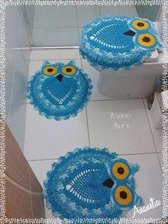 tapetes kit banheiro em crochê corujas 3 peças lindo!