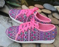 Hey, I found this really awesome Etsy listing at https://www.etsy.com/listing/201918285/funky-womens-sneaker-shoe-in-hmong