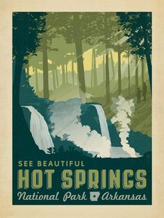 Hot Springs National Park - Anderson Design Group has created an award-winning series of classic travel posters that celebrates the history and charm of America's greatest cities and national parks. Founder Joel Anderson directs a team of talented Nashvil American National Parks, Us National Parks, Parc National, Vintage National Park Posters, Voyage Usa, Hot Springs Arkansas, Digital Print, Vintage Travel Posters, Poster Vintage