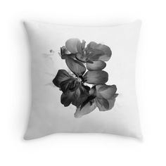 Geranium In Black And White Throw Pillow by ARTbyJWP from Redbubble #artbyjwp #redbubble #pillow #throwpillow #pilllowcover #cushion #homedecor #blackandwhite #floral #flower #photography #fineartphotography #monochrome #minimal #abstract #macro