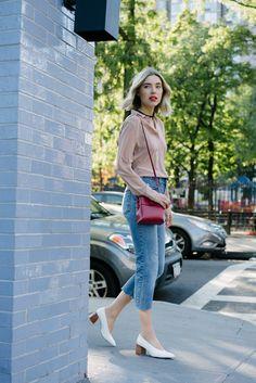 Sheer blouse + cutoff denim + white block heel pumps