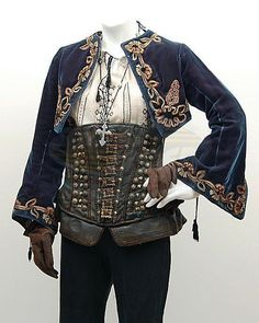 "londoninquisitor: ""The Costumer's Guide - Van Helsing You don't see the blue jacket very much in the movie (the blouse also has black embroidery instead of red), but it's really pretty, and it looks. Pirate Garb, Female Pirate Costume, Pirate Costumes, Pirate Jacket, Mermaid Costumes, Princess Costumes, Adult Costumes, Pirate Costume Couple, Gothic Fashion"