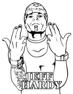 Jeff Hardy Jumping Upside Down Coloring Page Online