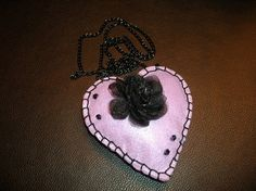 Purple heart with black rose by Teleiaandhandra on Etsy, €13.00