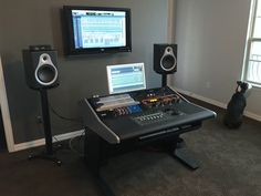 Show me your studio - No setup too small! Home Studio Setup, Studio Layout, Music Studio Room, Studio Desk, Studio Living, Recording Studio Furniture, Recording Studio Home, Home Music, Man Cave Room