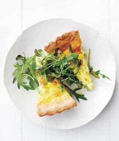Pea, Scallion, and Gruyère Quiche recipe: This elegant tart takes just ten minutes of hands-on time to prepare. Serve with a crunchy green salad.