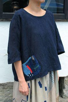 Antique linen dolman sleeve indigo blouse/French linen/antique…