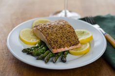 Mustard crusted salmon with roasted asparagus. Literally takes 15 minutes.