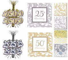 Die schönen Dekorationsartikel zum 25ten Jubiläum sind in Silber, zum 50ten Jubiläum in Gold gehalten. Die Artikel sind sehr stilvoll mit Ornamenten gearbeitet oder aus goldfarbenem oder silberfarbenem glänzenden Material gefertigt. Die elegant gestalteten Artikel sind hervorragend als Dekoration zur Ihrer Feier zur Goldhochzeit, Silberhochzeit oder zu einem anderen Jubiläum oder Jahrestag geeignet.