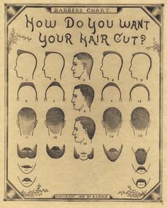 1890 Antique Barber Shop Haircut Beard Mustache Chart Poster Sign New Print 54 | eBay