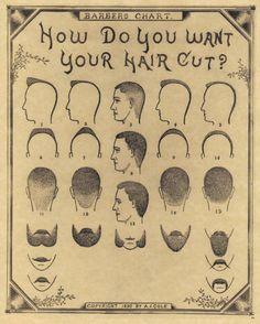 1890 Antique Barber Shop Haircut Beard Mustache Chart Poster Sign New Print 54 | eBay