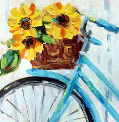 """DIY Abstract Heart Painting and a Fun Paint Party Daily Paintworks – """"Sunflowers & Bike"""" von Suzy 'Pal' Powell Arte Inspo, Afrique Art, Bicycle Art, Bicycle Basket, Bicycle Painting, Bicycle Design, Heart Painting, Fine Art, Acrylic Art"""