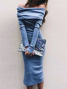 Shop Blue Off Shoulder Long Sleeve Plain Midi Bodycon Dress from choies.com .Free shipping Worldwide.$14.99