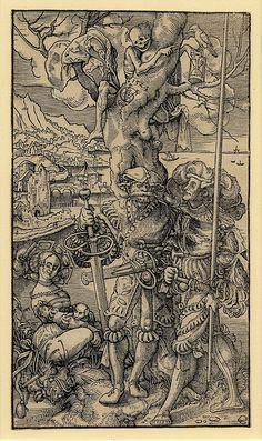 Two mercenaries and a woman with Death in a tree The skeletal figure of death above the soldiers pointing at an hourglass, landscape background. Woodcut made by Urs Graf, Block cut by Hans Lützelburger, Swiss, 1524.