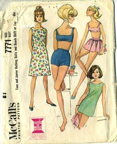 McCalls 7771 Vintage 1965 Sewing Pattern Young Junior /Teen Swimsuit, Beach Dress and Skirt, Sleeveless, Five-Panel Shift or Top Princess Seams, Two-Piece Bathing Suit Matching Gathered Overskirt, Back Buttoned interfaced & faced Bra, Lined Dart Fitted Shorts Elastic Leg, Size 14T Bust 34 Waist 26 Hip 36 at RomasMaison on Etsy.com. jwt