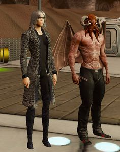 Sharing a photo of me and King Scott with his Cthulhu theme look . merged UL Oberon (Yog) Helmet with the Horns of Z'agol, body skin, leather pants.