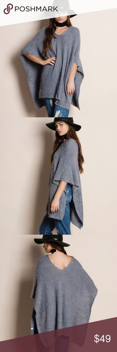 """Grey Soft Fuzzy Poncho Soft fuzzy grey poncho. No sleeves. This is an ACTUAL PIC of the item - all photography done personally by me. Model is 5'9"""" 32""""-24""""-36"""" and typically wears a size small. Brand new. NO TRADES DO NOT BOTHER ASKING. Bare Anthology Sweaters Shrugs & Ponchos"""