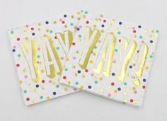 YAY! Gold Foil and colorful confetti Beverage Cocktail Napkins Package of 20     eBay