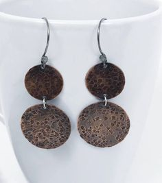 Your place to buy and sell all things handmade Rustic Jewelry, Handmade Jewelry, Copper Earrings, Circle Earrings, Mixed Metals, Artisan Jewelry, Metal Working, Wax, Jewelry Design