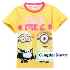 Despicable me yellow hot pink Baby Kids Tops T-shirt,contact BDJIN@FOXMAIL.COM for more details