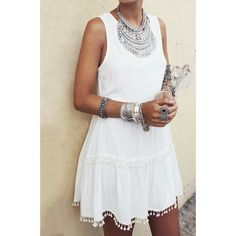 $10.51 Sweet Round Collar White Sleeveless Dress For Women