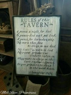 Rules of this Tavern Llemuel Cox Inn Wood Sign Antique Primitive by MillRiverPrimitives on Etsy