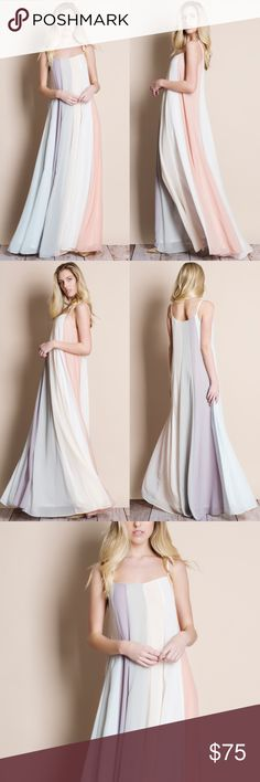 """Multicolor Colorblock Maxi Dress Multicolor colorblock maxi dress. This is an ACTUAL PIC of the item - all photography done personally by me. Model is 5'9"""", 32""""-24""""-35"""" wearing the size small. NO TRADES DO NOT BOTHER ASKING. Bare Anthology Dresses Maxi"""