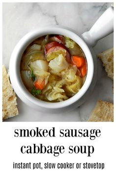 Smoked Sausage & Cabbage Soup - a down-home &  traditional Soup, perfect for fall & winter. Make delish, low carb and easy soup on the stove, slow cooker or Instant Pot. #SmokedSausageSoup #SmokedSausageCabbageSoup #InstantPotSmokedSausageCabbageSoup