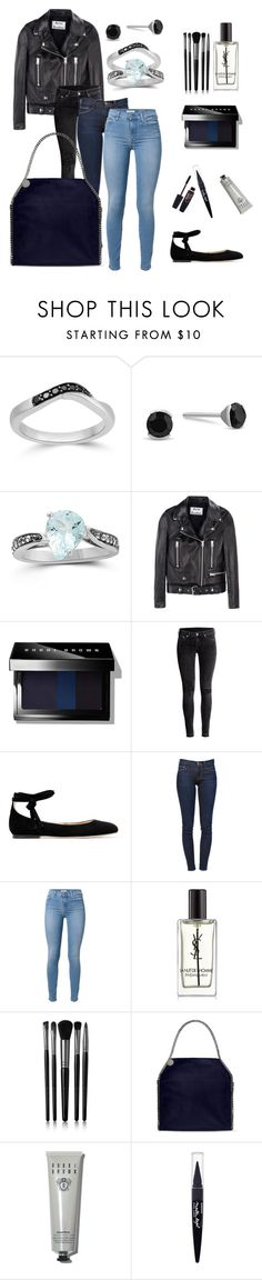 """Aquamarine with an edge"" by blossom-jewels ❤ liked on Polyvore featuring Acne Studios, Bobbi Brown Cosmetics, H&M, Gianvito Rossi, Frame Denim, 7 For All Mankind, Yves Saint Laurent, Illamasqua, STELLA McCARTNEY and Maybelline"