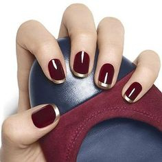 Image result for burgundy and gold nails