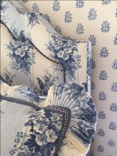 Custom Headboard and Shams in Blue & White for a favorite client.