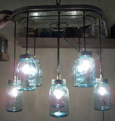 Stunning 8 Blue Mason Jar Chandelier Antique Boiler Lid Beautiful 4CEILING Light | eBay